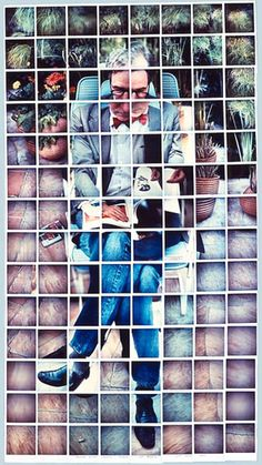 David Hockney - Nicholas Wilder Studying Picasso, 1982 composite polaroid, 48 x 26 in. British Artist, David Hockney Photography, David Hockney Joiners, Art Photography, Artist Inspiration, Photomontage, Painting, Art, Pop Art
