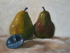 The Newlyweds - Lynn Cyr, Still Life & Landscape Fine Artist (pears, wedding, ball & chain)