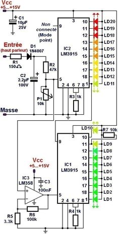 vumetre to 20 led et 2 0 - Diy Projects Electronics - Electronics Projects, Simple Electronics, Hobby Electronics, Electronics Components, Electronic Circuit Design, Electronic Engineering, Electrical Engineering, Electrical Circuit Diagram, Electrical Wiring