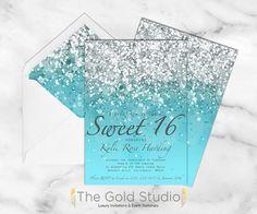 Sweet 16 invitation Sweet sixteen Blue Glitter by TheGoldStudio