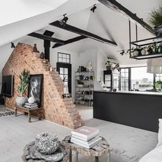 tarting the week off with an interior wow of this beautiful loft apartment from photographed by I love Cosy Home, Scandinavian Style Home, Dream Rooms, Next At Home, Apartment Design, Home Fashion, Home Decor Inspiration, Decor Ideas, Home Interior Design