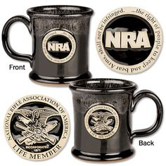 Hand-thrown, fired and glazed stoneware Life Member logo medallion on one side NRA logo and Amendment on other side Capacity: 14 oz. Coffee Concentrate, Coffee Accessories, Stoneware Mugs, Black Gold, Decorations, Tableware, Products, Dinnerware, Dekoration