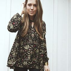 """""""Adele"""" Floral Tunic Black from Carly Jean for $54.00"""