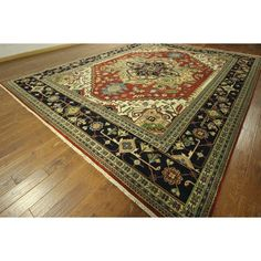 Manhattan Serapi Vibrance Collection 5 / Navy Heriz Hand-knotted Area Rug