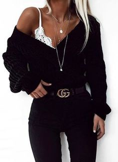 This is an amazing black outfit mixed with white lace and a black belt that costs less than 20 dollars #womenclothingoutfits