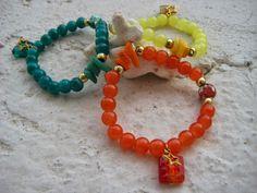 Pulseras con cuentas de cristal y piedras naturales- Bracelets with glass beads and natural stones