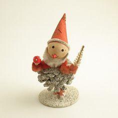 Vintage Christmas Decoration Pinecone Santa.