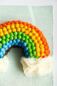 Rainbow M Cake With Fluffy White Clouds; can turn into craft and use cotton for clouds