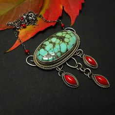 Silver boho necklace  turquoise  red coral  by @MadeBySunflower, $195.00