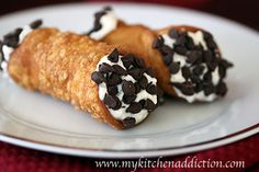 Chocolate Chip Cannoli's | my kitchen addiction- my favorite. Scroll about halfway down page for recipe