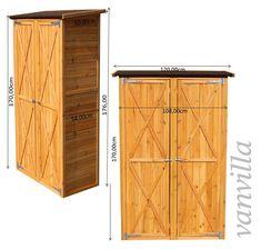 vanvilla Geräteschuppen Holz Flachdach Groß Naturfarben Gerätehaus Gartenschrank: Amazon.de: Garten