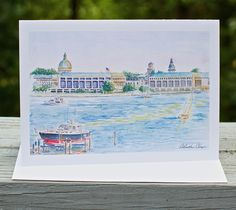 "8 cards of ""Severn Salute"" - Landmark Renditions. The United States Naval Academy as seen from the Severn River, Annapolis, Maryland. Click to purchase.  #landmarkrenditions #christinechapa #downtown #annapolis #chesapeake #downbythebay #sail #nautical #local #watercolor #artist"