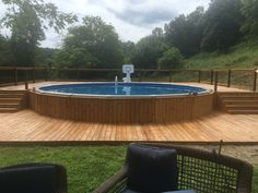 Our finished product. #decks #pooldecks #aluminumrails #twolevels #abovegroundpool #backyard #floatingdeck