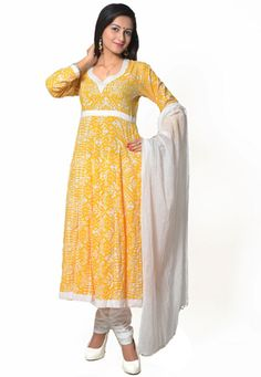 Yellow Cotton Readymade Anarkali Churidar Kameez