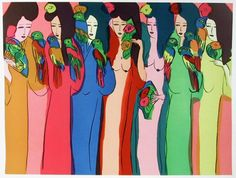 Walasse Ting 丁雄泉   Femmes aux Perroquets (1982)   Available for Sale   Artsy