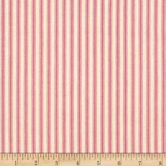 Ticking Stripe Pink Fabric 100% Cotton Medium Weight Woven Canvas Striped 44'' #Fabric