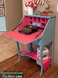 A secretary desk finished with Provence and Scandinavian Pink Chalk Paint® decorative paint by Annie Sloan Chalk Paint Furniture, Find Furniture, Furniture Projects, Furniture Makeover, Vintage Furniture, Home Projects, Refinished Furniture, Annie Sloan, Desk Redo