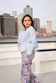 Leather Jacket + Floral #Zamrie pants http://www.nytrendymoms.com/2014/11/leather-zamrie-florals.html#more