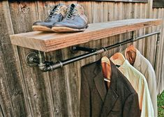 Another simple, but striking way to hang clothes (without a closet) for bedroom #2