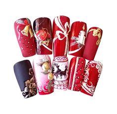 #christmas #xmasnails #nails #nailart #naildesign #christmasnails #bell #candle #crystalnails