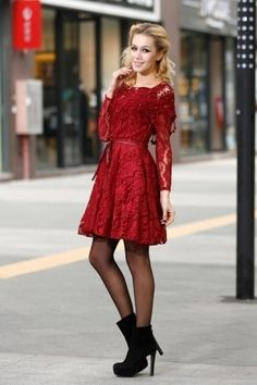 1fa06e6e994b fashion-tights  Red lace dress with pantyhose and bootie heels