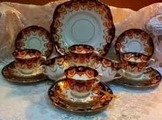 Gorgeous vintage circa 1920 Royal Albert Crown Imari tea set for 6