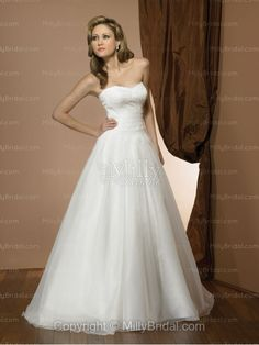 Ball Gown Sweetheart Pleating Satin Chapel Train Wedding Dress at Millybridal.com