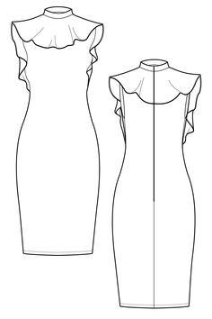 Ariani peplum neck dress flat drawing by Ralph Pink