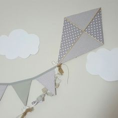 Gorgeous new grey and polkadot kite with tan accents. Gorgeous gender neutral wall art for a child's bedroom. Bunting can be personalized with hand cut felt lettering in your child's name! Bedroom Bunting, Lego Bedroom, Childs Bedroom, Kite Decoration, Felt Letters, Baby Boy Birthday, Victorian Decor, Cute Home Decor, Nursery Neutral