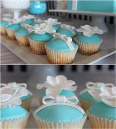 Tiffany-themed birthday party cupcakes. See the entire party on www.prettymyparty.com.