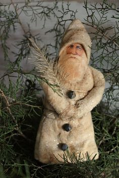 cinnamon creek dry goods | Batting Santa Ornament     A santa scrap face ornament wrapped in aged batting and glittered.  Sweet !             25.00 plus shipping SOLD