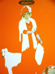 Coles Phillips FADEAWAY GIRL in FUR w HALO & WOLFHOUND 1911 Antique Art Matted #Vintage