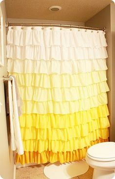 Elle Apparel: Anthropologie Ruffle Shower Curtain Tutorial - this is such a happy curtain. I saw one in blue and white too. When I get a sewing room this will be tackled Ombre Shower Curtain, Yellow Shower Curtains, Ruffle Curtains, Fabric Shower Curtains, Bedroom Curtains, Bedroom Decor, Knock Off Decor, Curtain Tutorial, Ideas