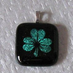 Dichroic Shamrock Pendant Fused Glass Jewelry St by GlassMystique, $22.00