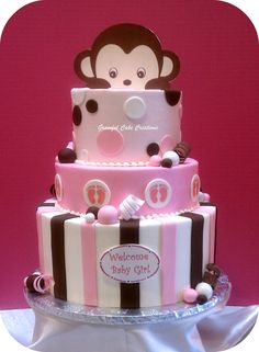 Peek-A-Boo Monkey Baby Shower Cake  use pillow pet for head, nappies for rest.