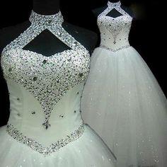 Womens Lace Wedding Dress Luxury Crystal Ball Bridal Gowns. Regular/Plus Sizes.