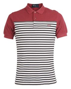 FRED PERRY AUTHENTIC Mens Red BLOCK AND STRIPE POLO SHIRT