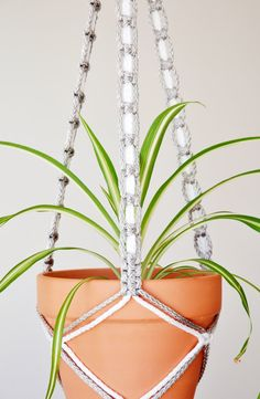 Macrame plant holder  gray and white  48 inches by TheVintageLoop, $29.00