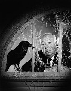 Photographer: Philippe Halsman Model: Alfred Hitchcock Film: The Birds Alfred Hitchcock Hour, Alfred Hitchcock The Birds, Hitchcock Film, Philippe Halsman, Tv Movie, Cary Grant, Foto Art, Magnum Photos, The Villain
