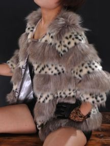 Fashion Leopard Fox Fur Three Quarter Sleeve Coat