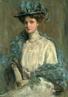 This painting of Sir John Lavery (1856-1941) is titeled Portrait of a Lady in Blue and is signed 'J Lavery' (lower right). It was painted in the late 1890s.
