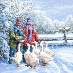 Merry Christmas To You, Christmas Art, Vintage Christmas, Winter Pictures, Christmas Pictures, Winter Illustration, Wildlife Paintings, Christmas Scenes, Christmas Paintings