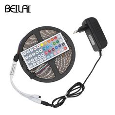 BEILAI 5050 RGB LED Strip Waterproof DC 12V 5M 300LEDs Fita LED Light Strips Flexible Neon Tape Add 44Key Remote and 3A Power #Affiliate