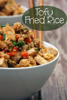 "Tofu Fried Rice Slightly Adapted from Cooking Light's ""New Way to Cook Light""      4 cups cooked day-old white rice     2 tbsp vegetable oil..."