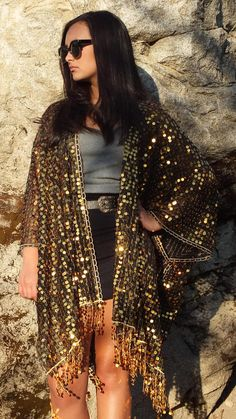 fc33e9d63 Festival Black Gold Metallic Round Sequin Sheer Caftan with Tassels Kimono  Top Cardigan Duster Disco One size Fit SML Plus Size