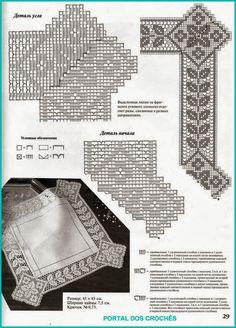 crochet home: Rectangular doily Crochet Tablecloth Pattern, Crochet Doily Diagram, Filet Crochet Charts, Crochet Borders, Crochet Doilies, Crochet Home, Irish Crochet, Crochet Designs, Crochet Patterns