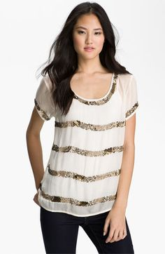 Lucky Brand 'Saturday Night' Sequin Trim Blouse available at #Nordstrom
