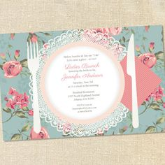 Vintage Roses & Lace Place Setting Invitations for Ladies Luncheons & Bridal Showers & Brunches by Sweet Wishes Stationery