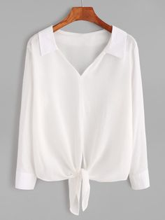White V Neck Knotted Hem Blouse