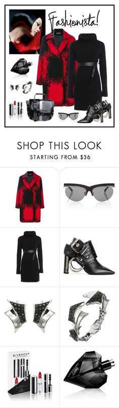 """Alyx Black Buckle Detail Ankle Boot Look"" by romaboots-1 ❤ liked on Polyvore featuring Elie Saab, MARCOBOLOGNA, Linda Farrow, Valentino, Alyx, Botta Gioielli, Givenchy and Diesel"